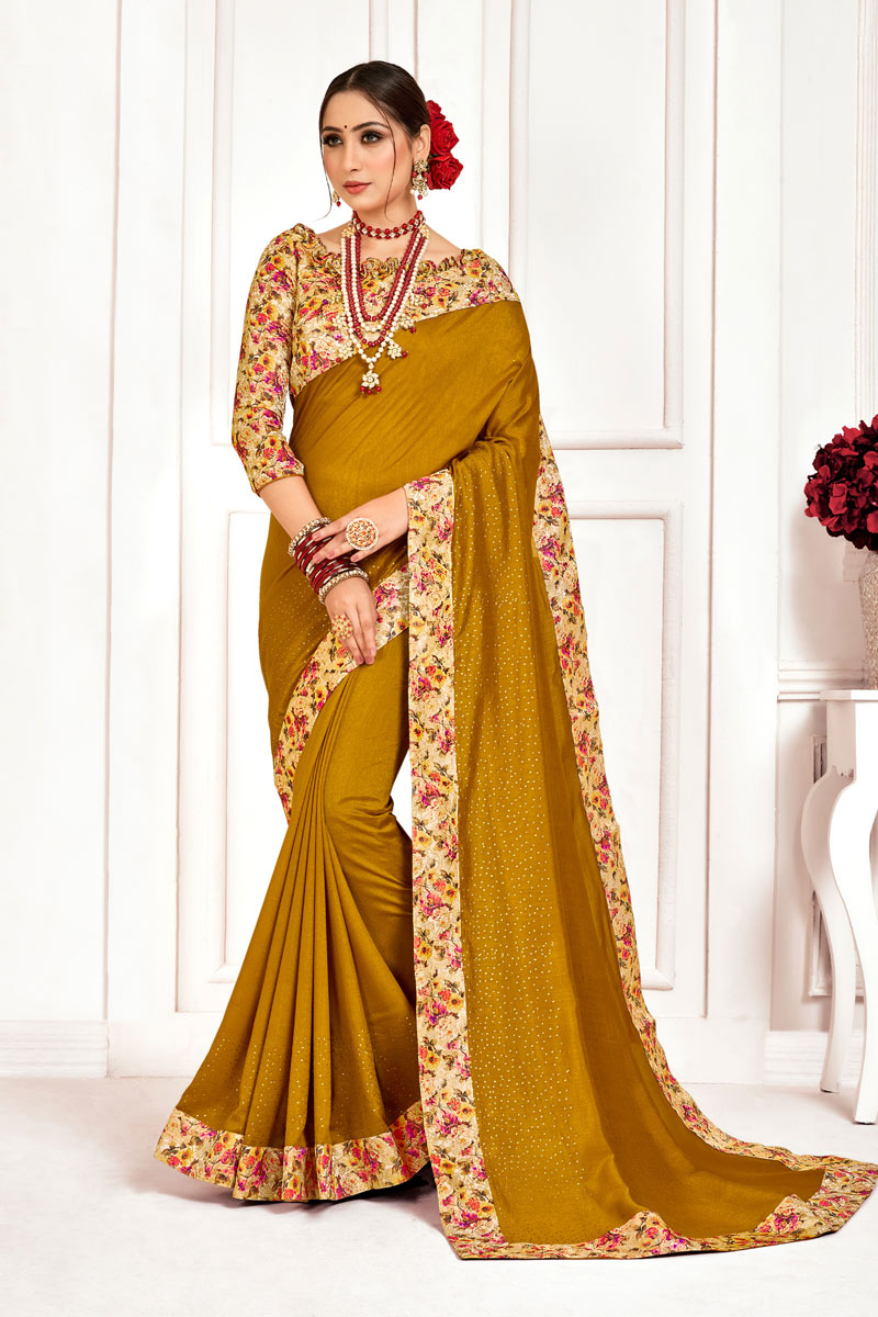 Art Silk Fabric Coffee Color Festive Saree With Border Work And Gorgeous Blouse