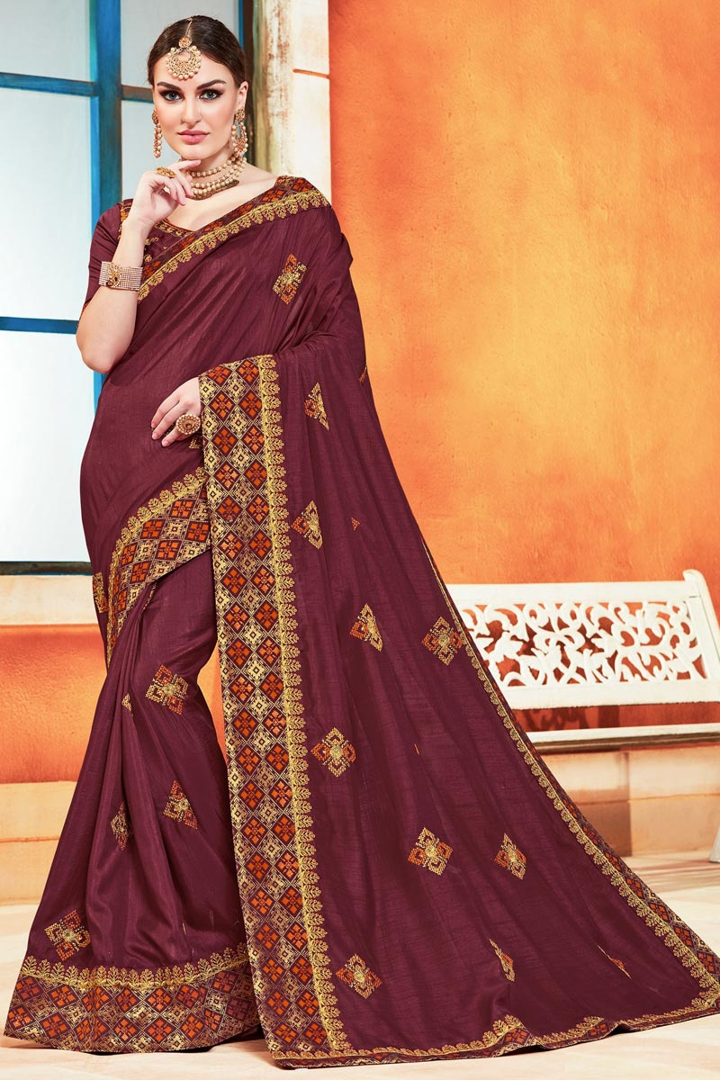 Art Silk Sangeet Function Wear Chic Embroidered Saree In Maroon Color