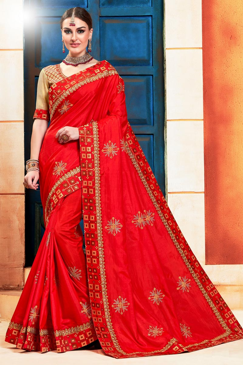 Art Silk Sangeet Function Wear Red Color Chic Embroidered Saree