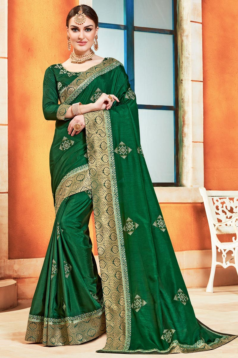 Sangeet Function Wear Art Silk Chic Green Color Embroidered Saree