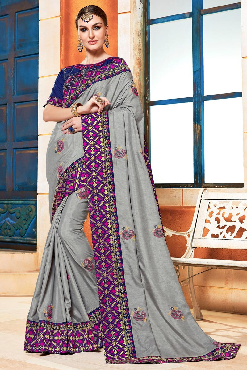 Sangeet Function Wear Grey Color Chic Embroidered Saree In Art Silk