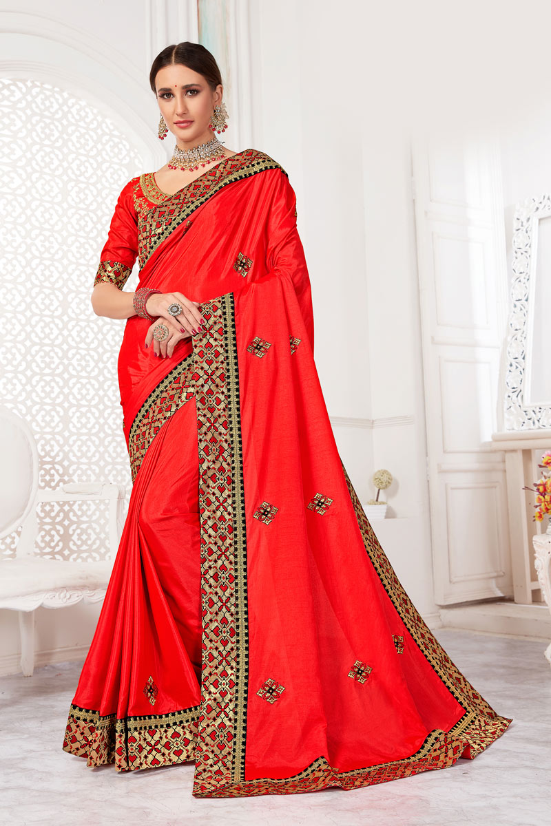 Embroidery Work On Art Silk Fabric Designer Saree In Red With Attractive Blouse