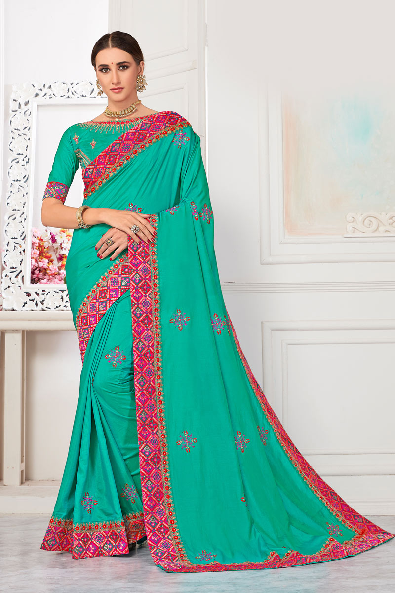 Sangeet Wear Art Silk Fabric Saree In Dark Cyan With Embroidery Work And Alluring Blouse