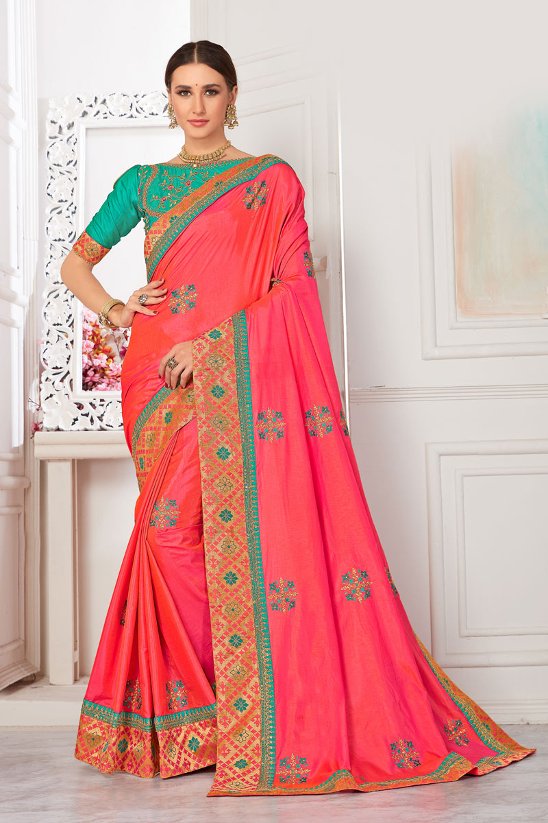 Embroidery Work On Art Silk Fabric Pink Designer Saree With Party Wear Blouse