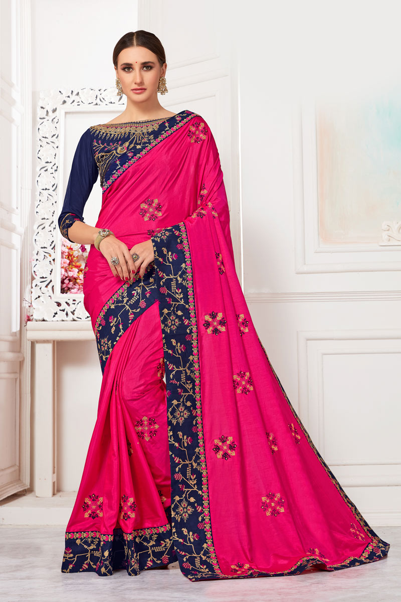 Rani Art Silk Fabric Party Wear Saree With Embroidered Designs And Tempting Blouse