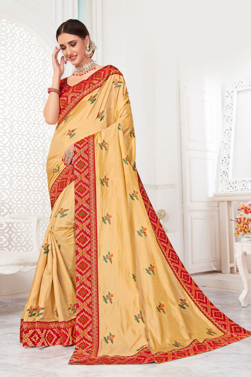 Cream Art Silk Fabric Party Wear Saree With Embroidery Work And Beautiful Blouse