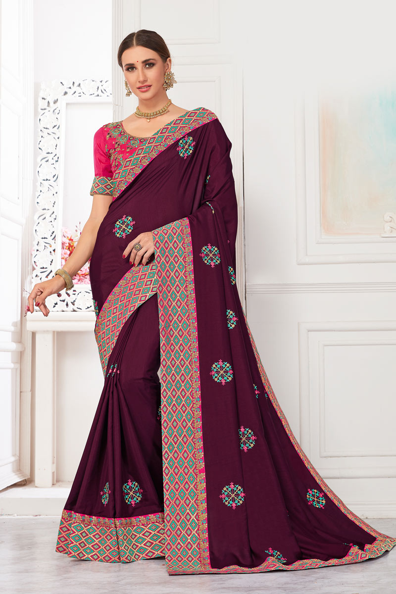 Embroidery Work On Art Silk Fabric Burgundy Function Wear Saree With Enigmatic Blouse