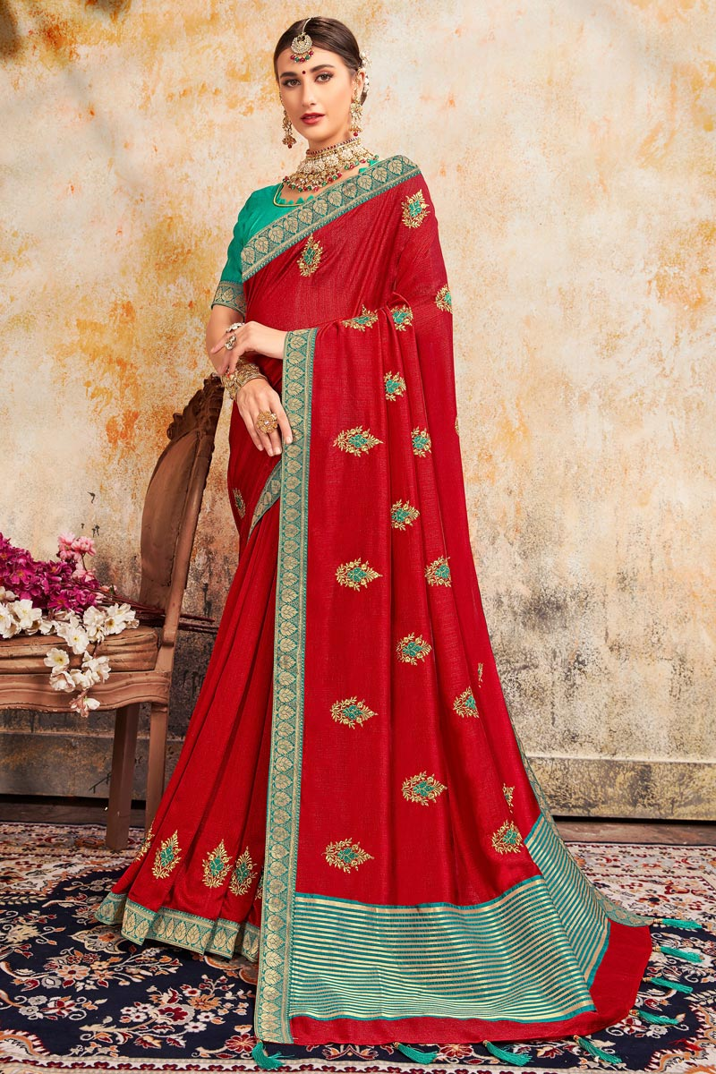 Sangeet Wear Stylish Art Silk Fabric Embroidered Red Color Saree