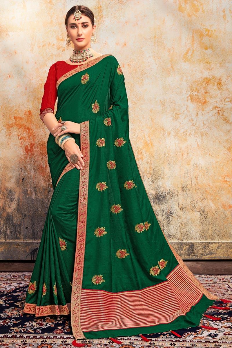 Art Silk Fabric Stylish Sangeet Wear Green Color Embroidered Saree