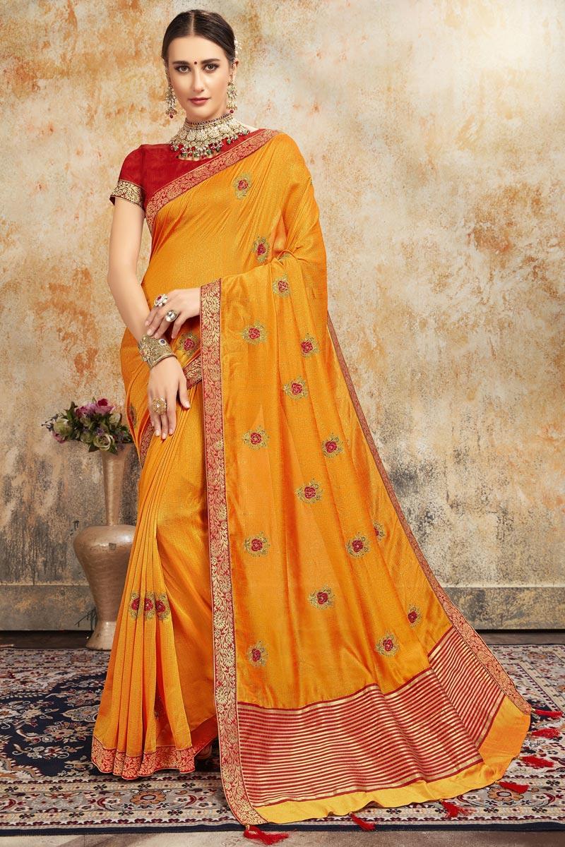 Sangeet Wear Stylish Mustard Color Embroidered Saree In Art Silk Fabric