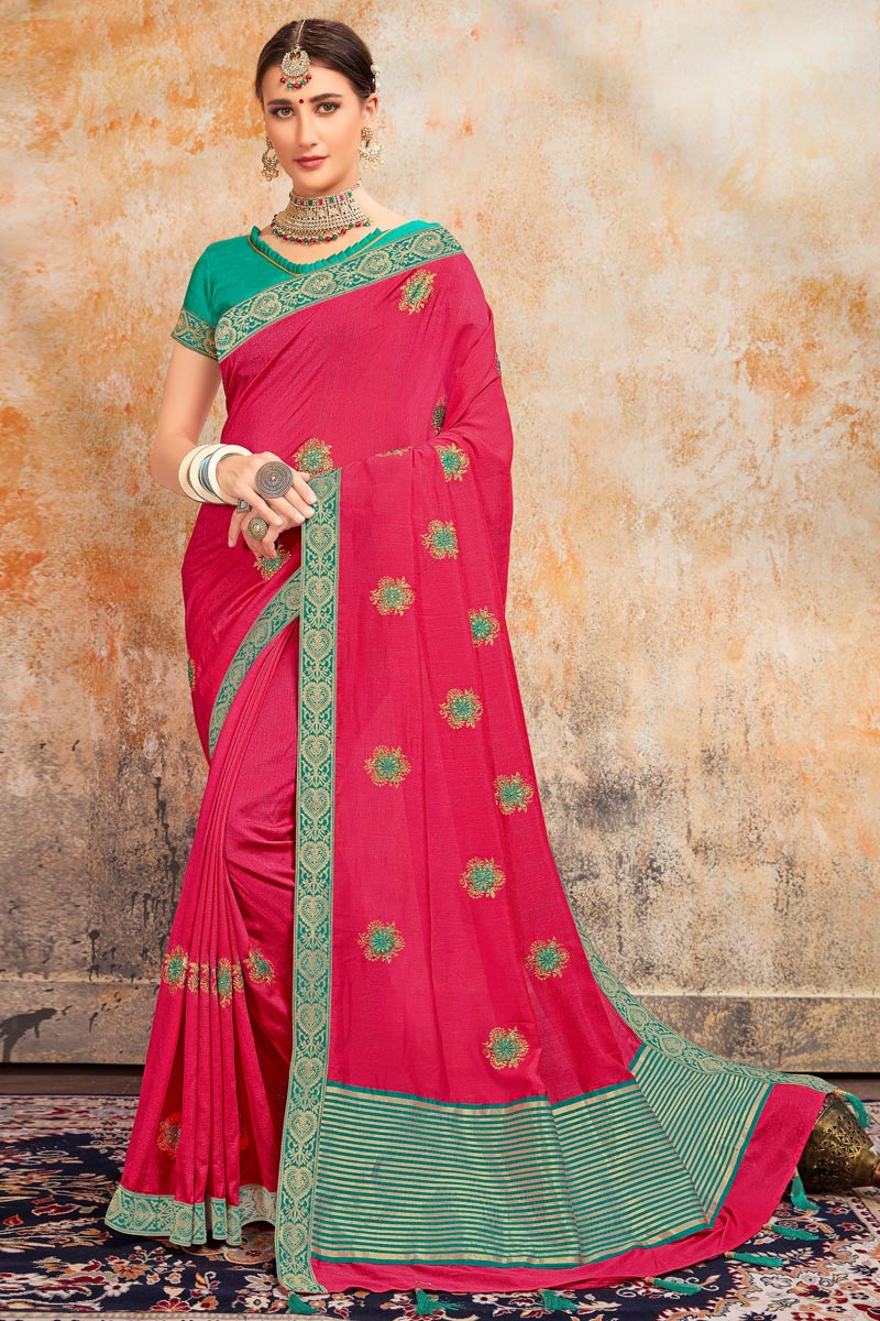 Pink Color Sangeet Wear Art Silk Fabric Stylish Embroidered Saree