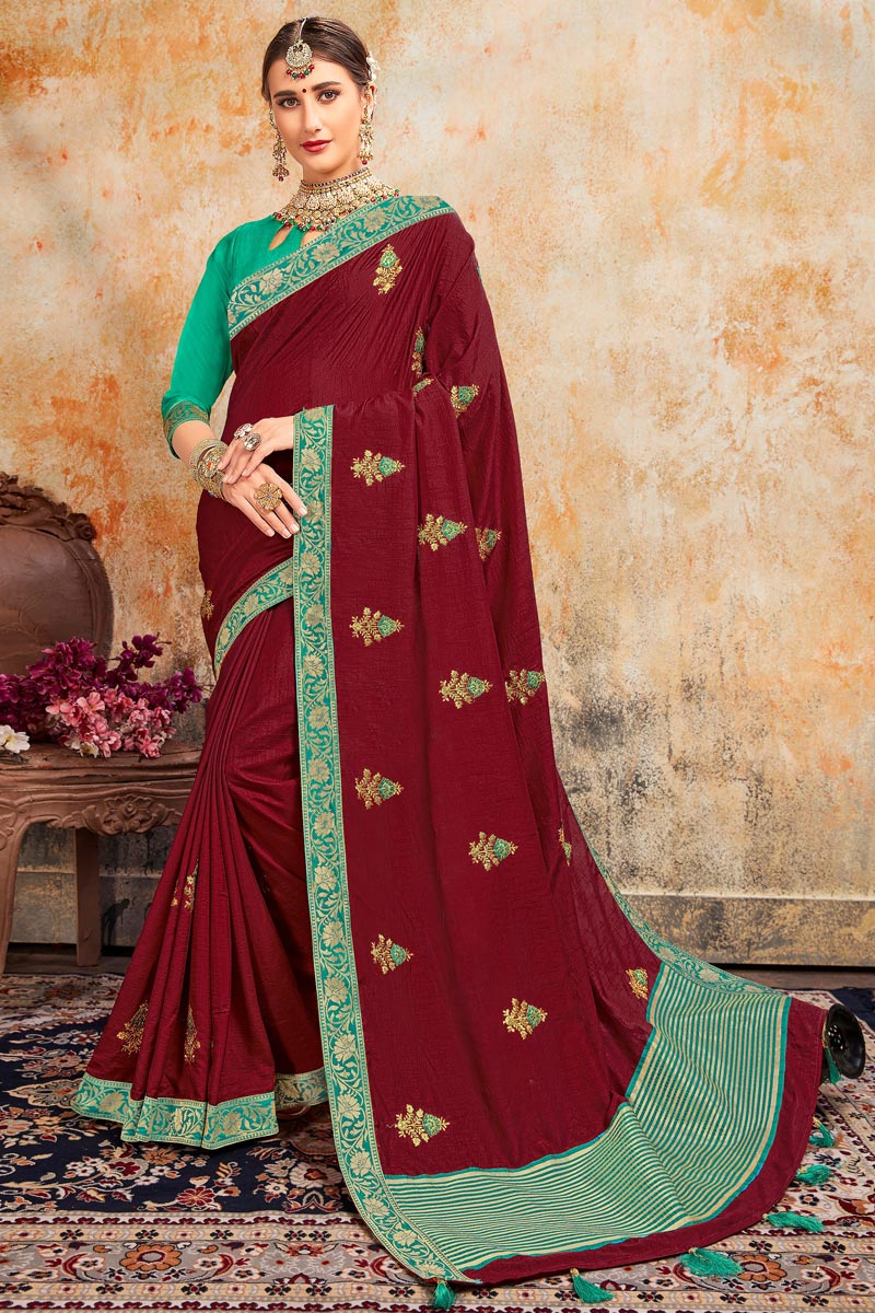 Sangeet Wear Maroon Color Stylish Embroidered Saree In Art Silk Fabric