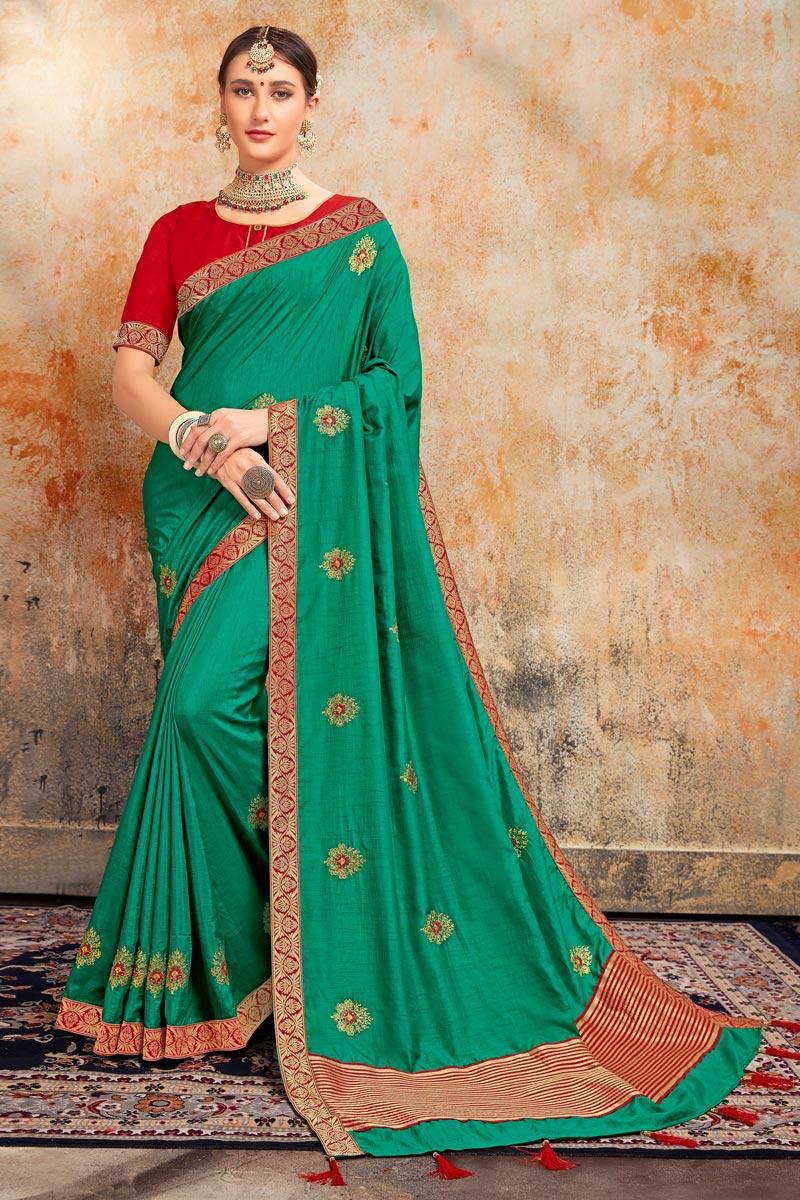 Green Color Stylish Sangeet Wear Art Silk Fabric Embroidered Saree