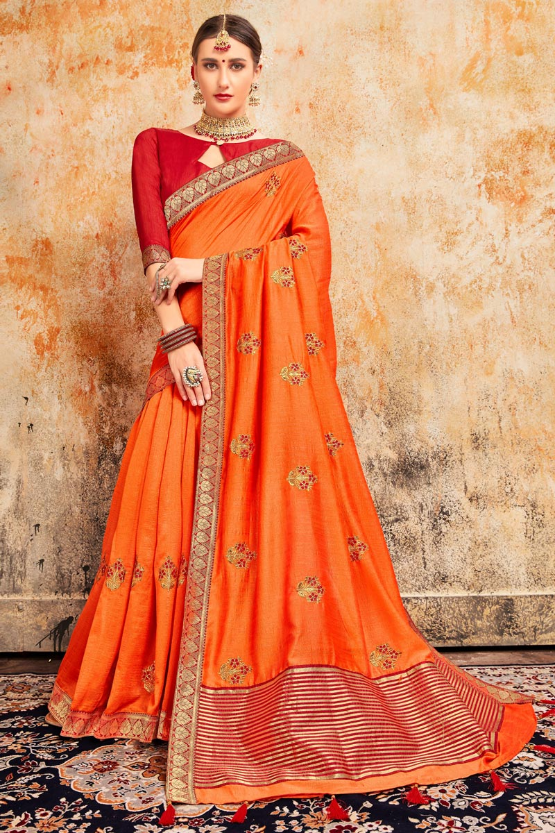 Sangeet Wear Stylish Art Silk Fabric Embroidered Saree In Orange Color