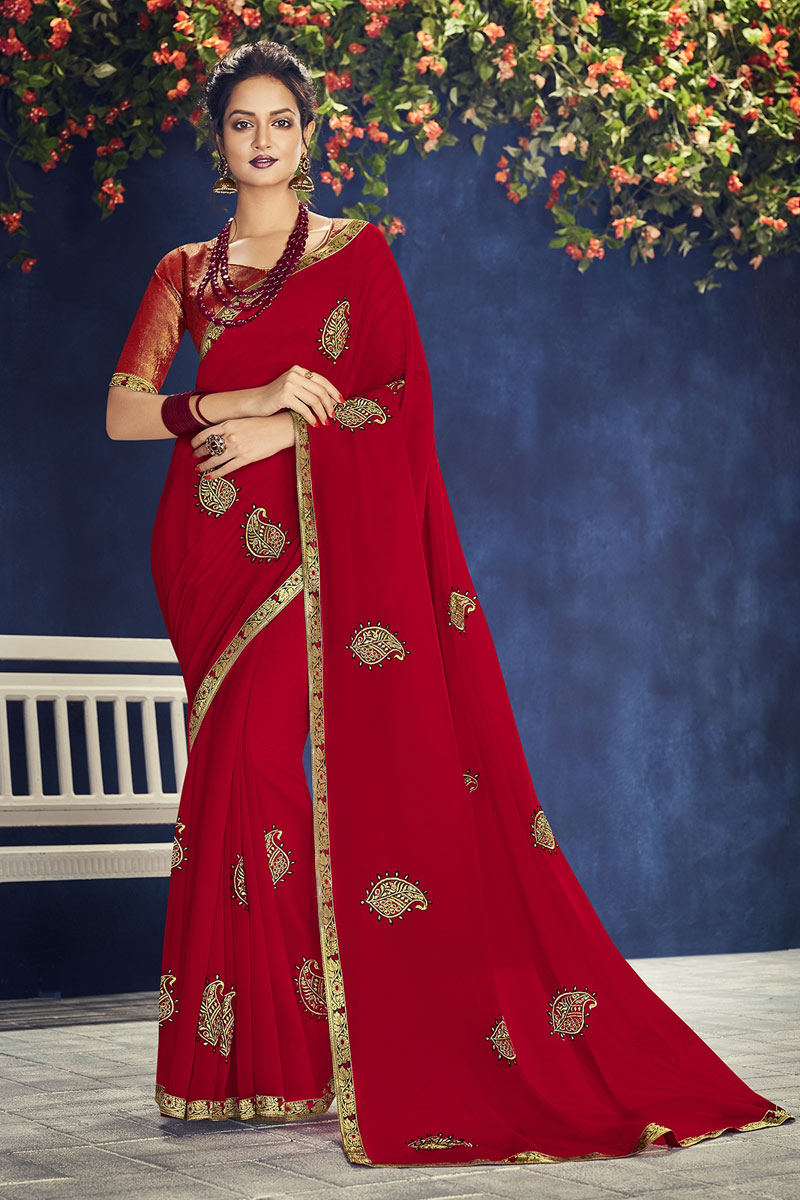 Embroidery Work On Red Georgette Fabric Party Wear Saree With Amazing Blouse