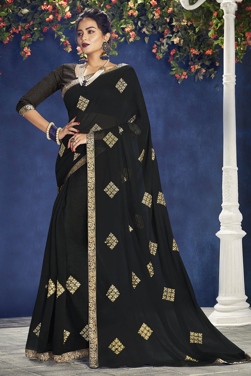 Embroidery Work On Occasion Wear Saree In Black With Designer Blouse