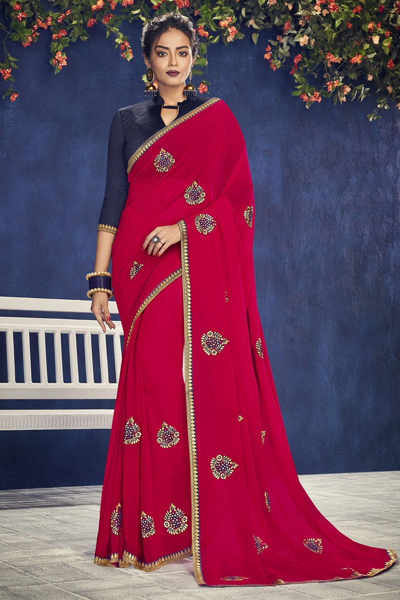Pink Georgette Fabric Wedding Wear Saree With Embroidery Work And Gorgeous Blouse