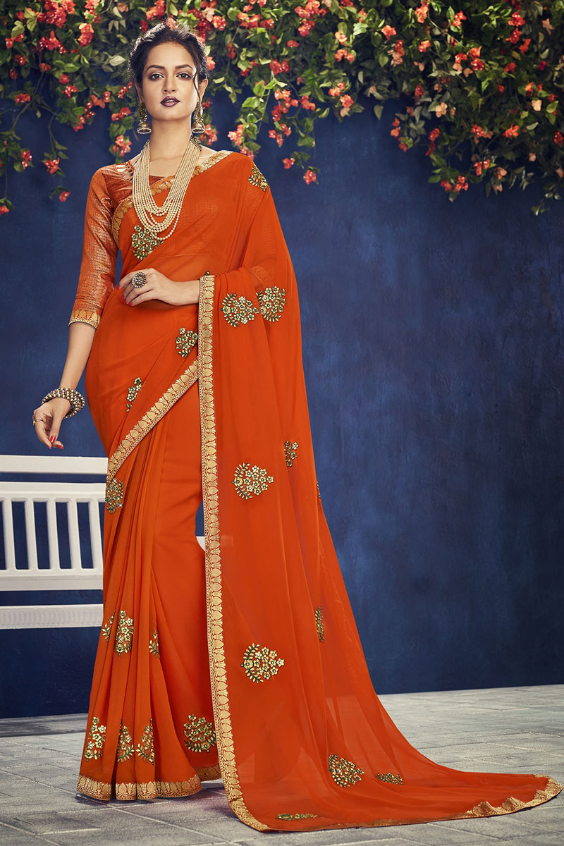 Embroidery Work On Orange Designer Saree In Chiffon Fabric With Admirable Blouse