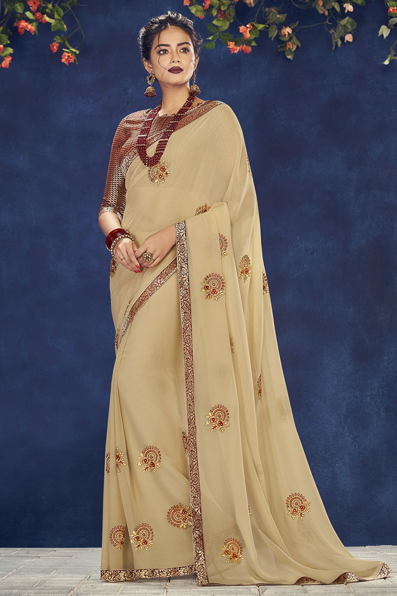 Georgette Fabric Designer Embroidered Saree In Cream With Attractive Blouse