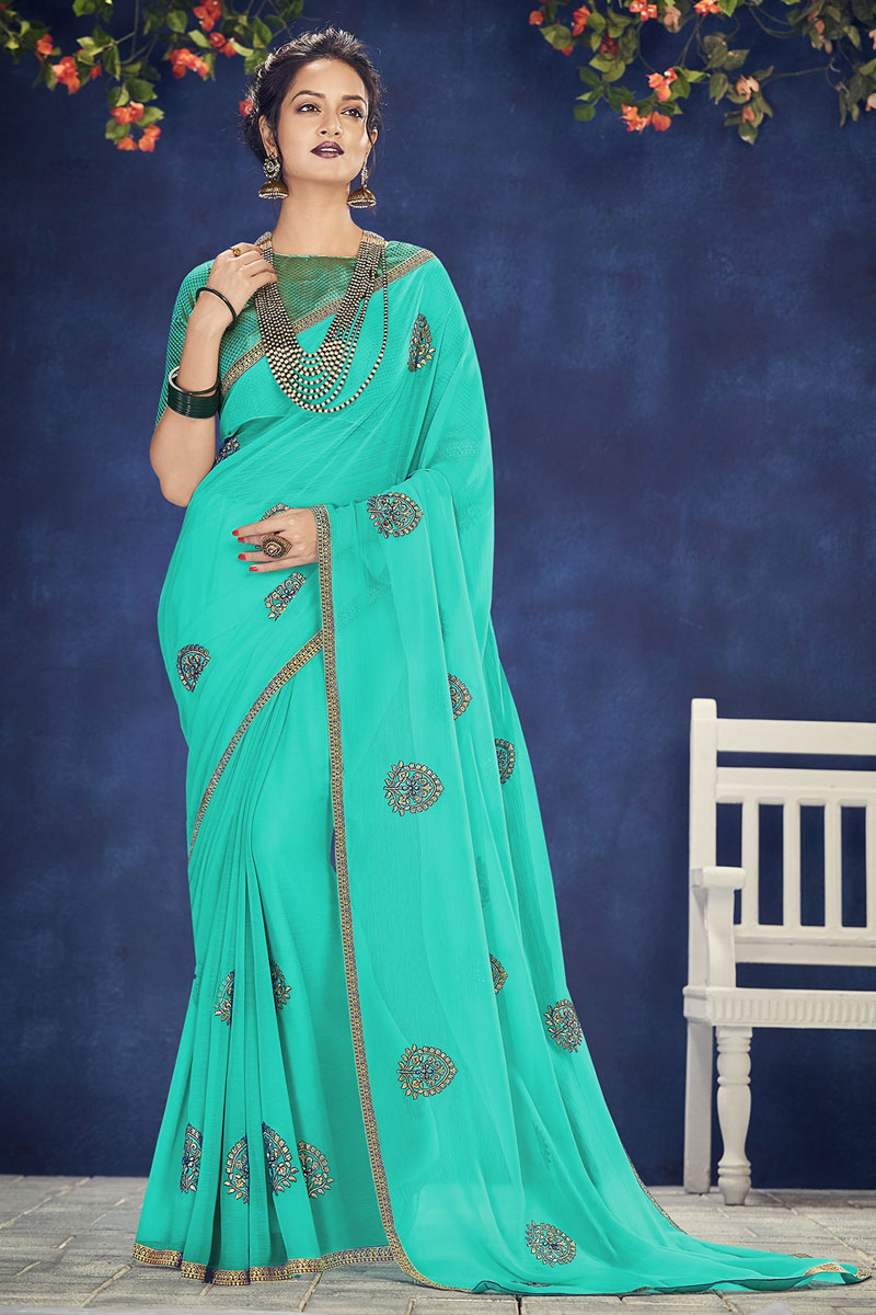 Embroidery Work On Chiffon Fabric Party Wear Saree In Light Teal With Ravishing Blouse