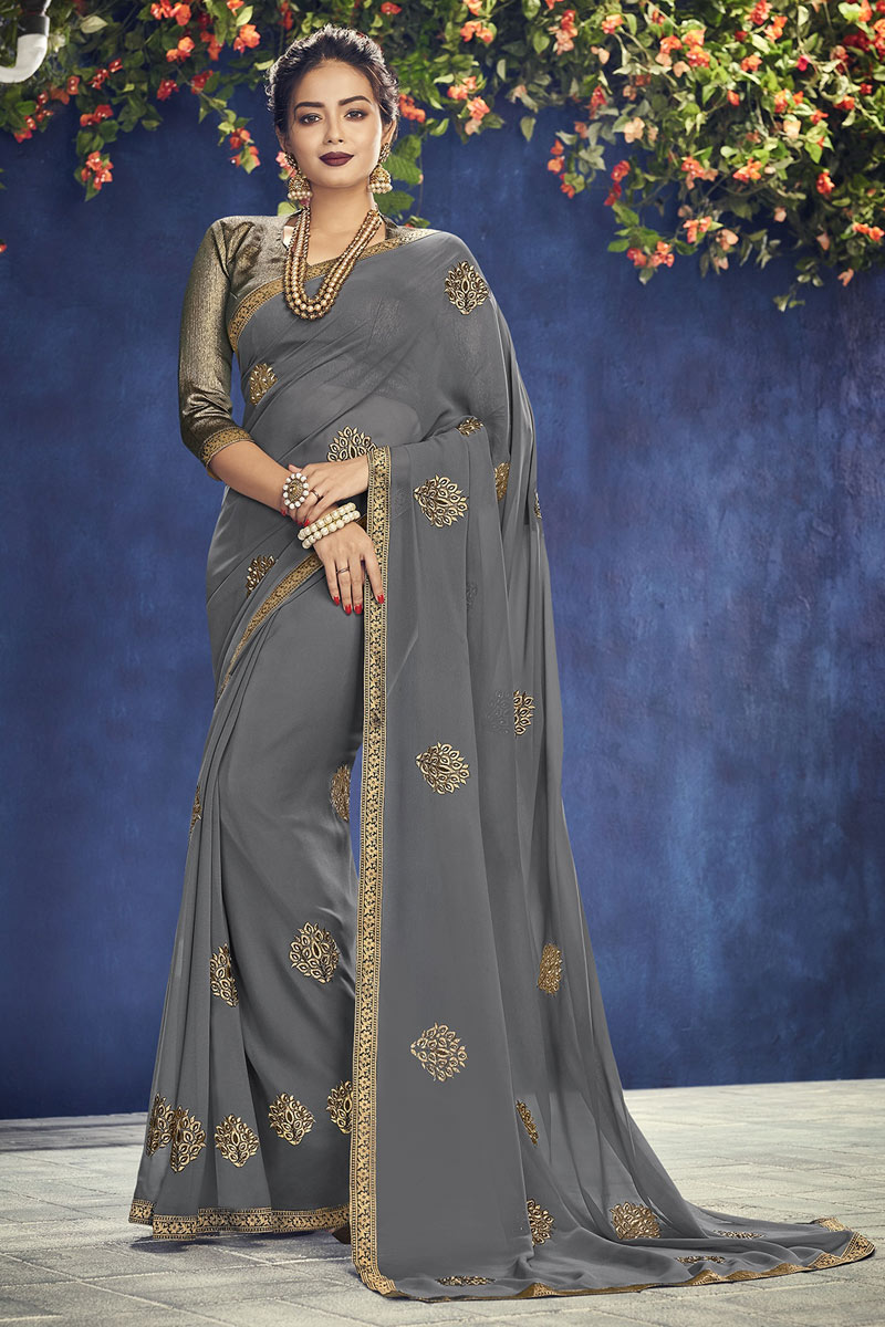 Grey Festive Wear Saree In Georgette Fabric With Embroidery Work And Fantastic Blouse