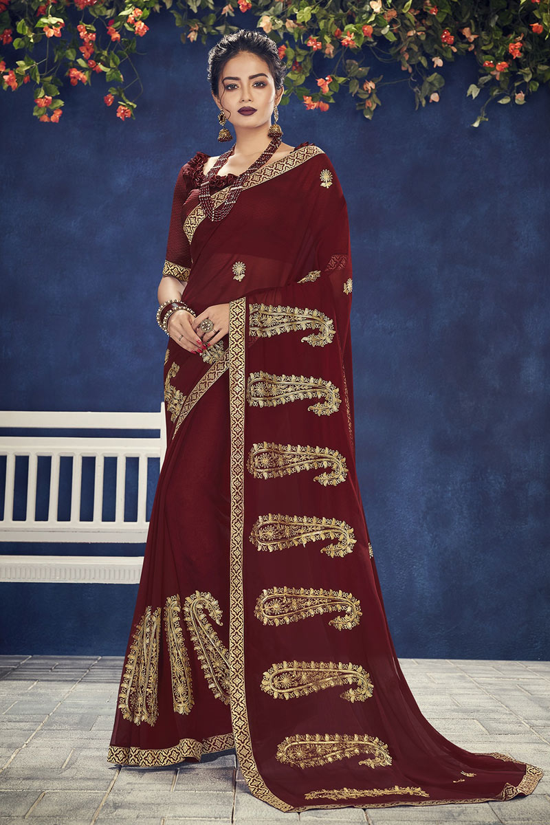 Occasion Wear Chiffon Fabric Embroidered Saree In Maroon With Designer Blouse