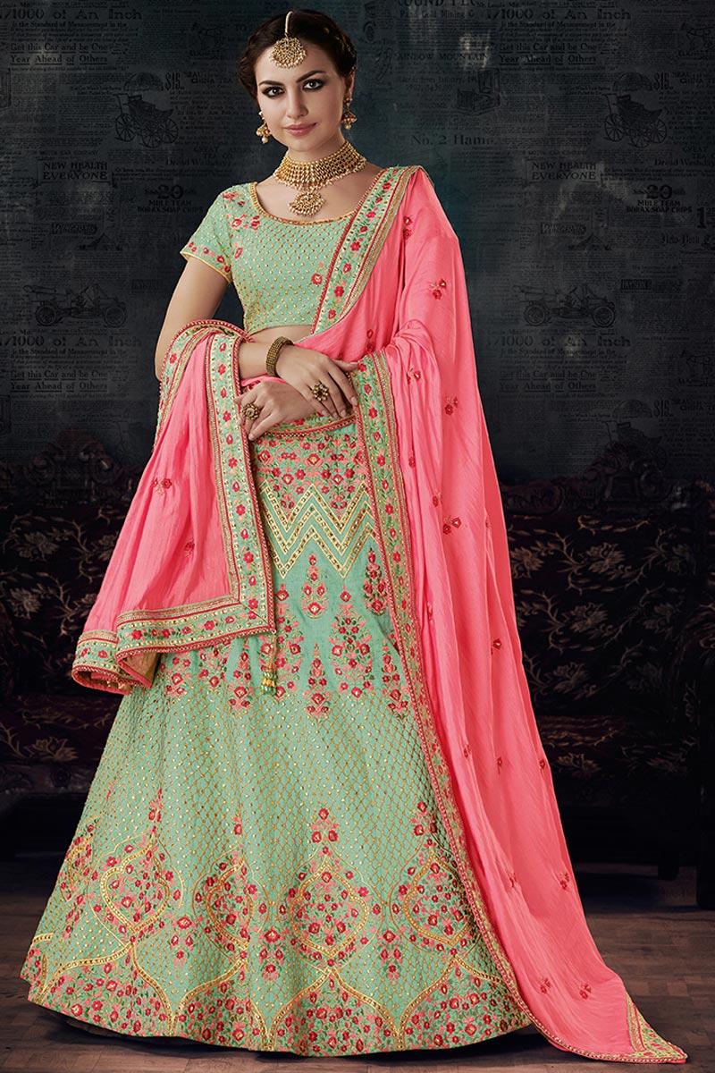 Wedding Function Wear Art Silk Fancy Lehenga in Sea Green
