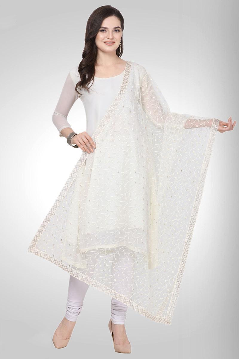 Fancy White Color Designer Net Fabric Embroidery Work Dupatta