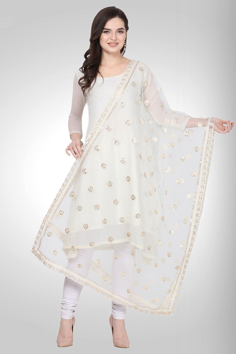 Function Wear White Color Designer Fancy Net Fabric Dupatta
