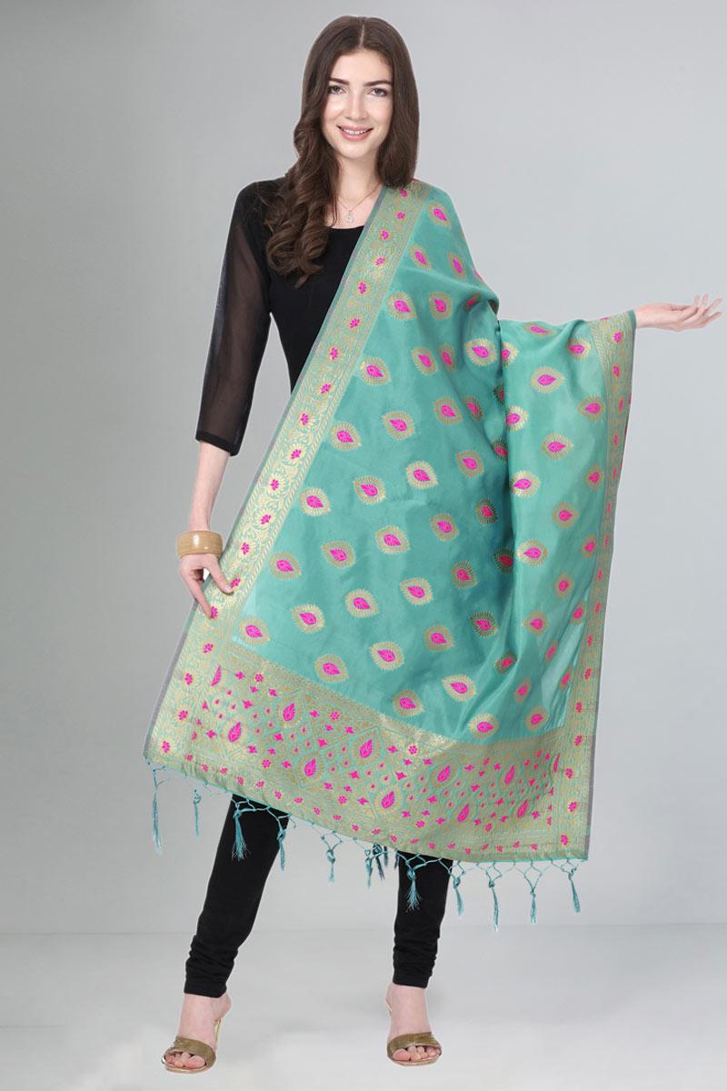 Light Turquoise Color Art Silk Fabric Weaving Work Party Wear Dupatta
