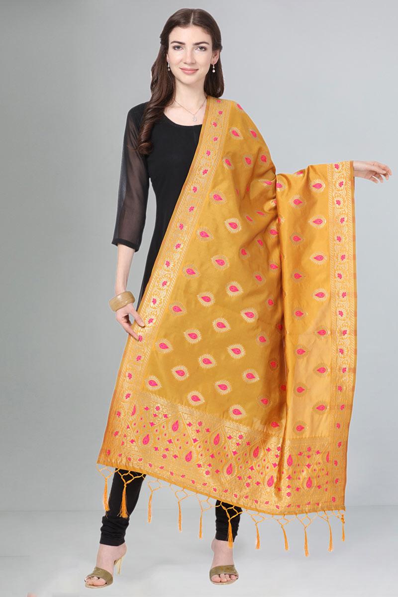 Art Silk Fabric Weaving Work Orange Color Party Wear Dupatta