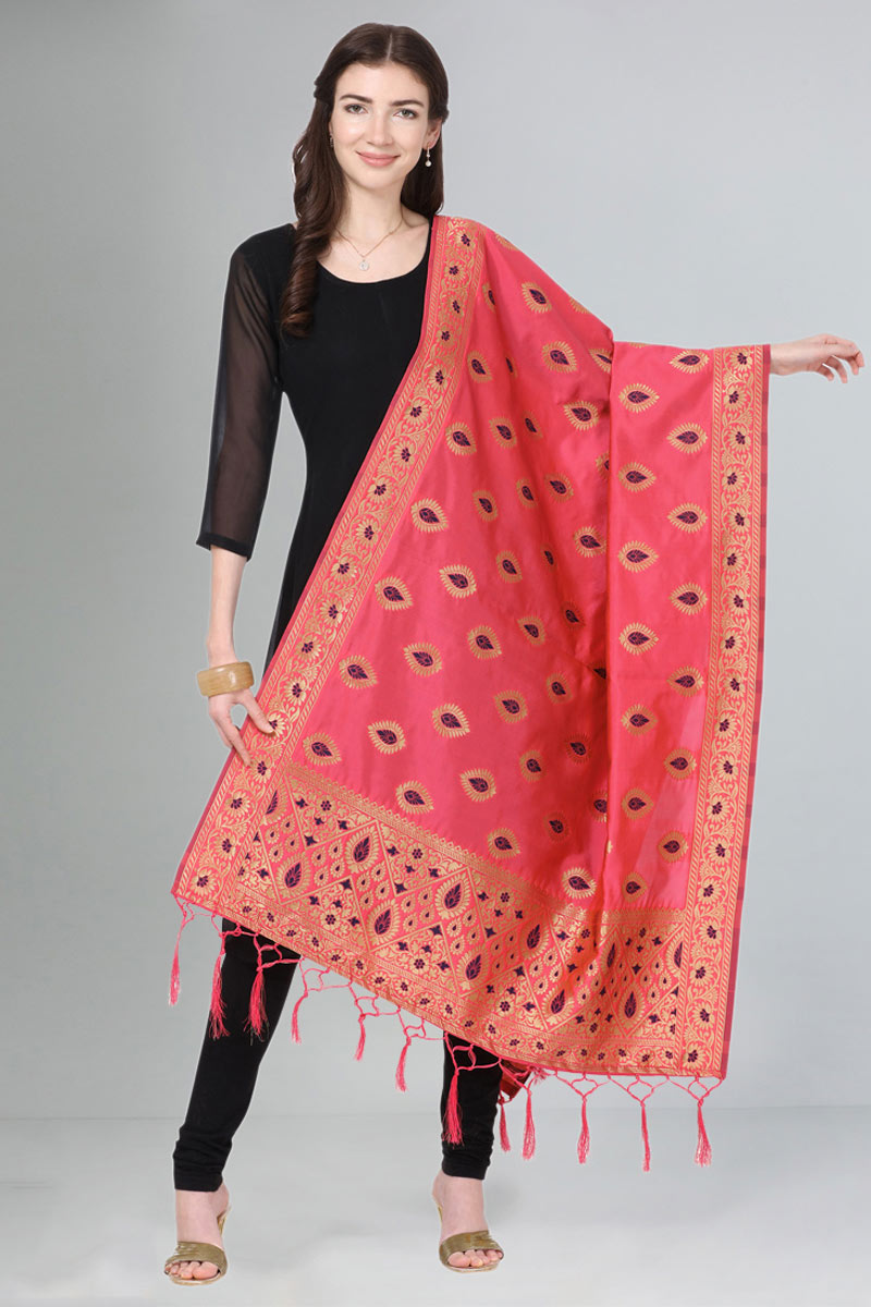 Weaving Work Party Wear Pink Color Dupatta In Art Silk Fabric