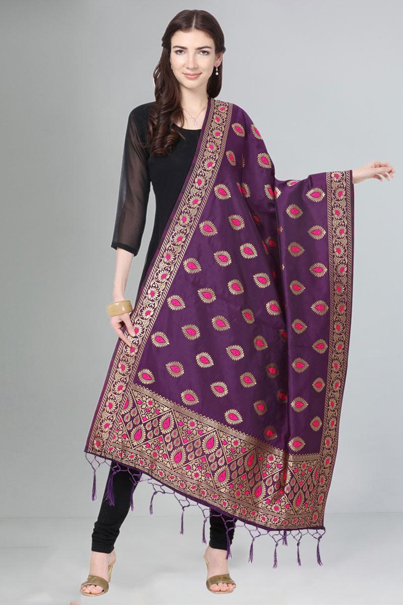 Party Wear Art Silk Fabric Weaving Work Dupatta In Purple Color