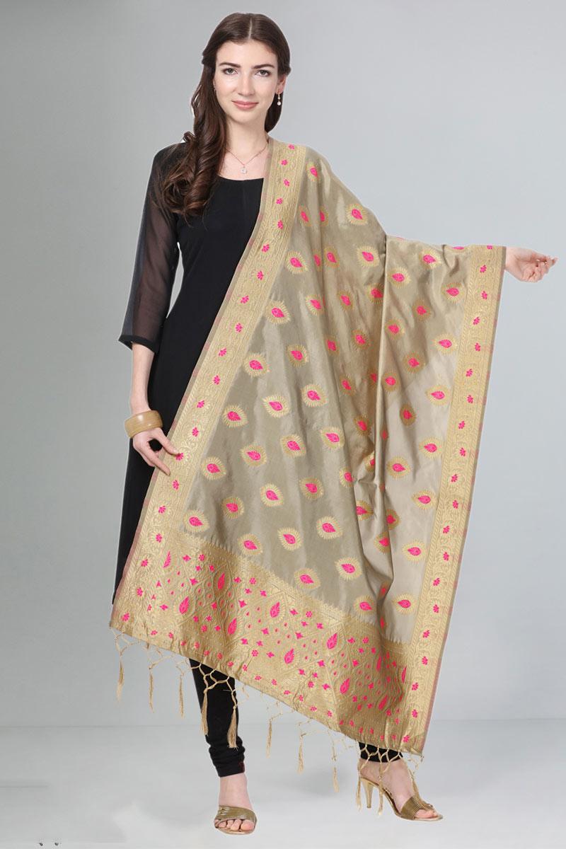 Party Wear Fancy Weaving Work Dark Beige Color Dupatta In Art Silk Fabric