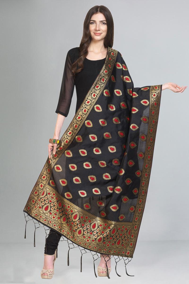 Weaving Work Party Wear Fancy Art Silk Fabric Dupatta In Black Color