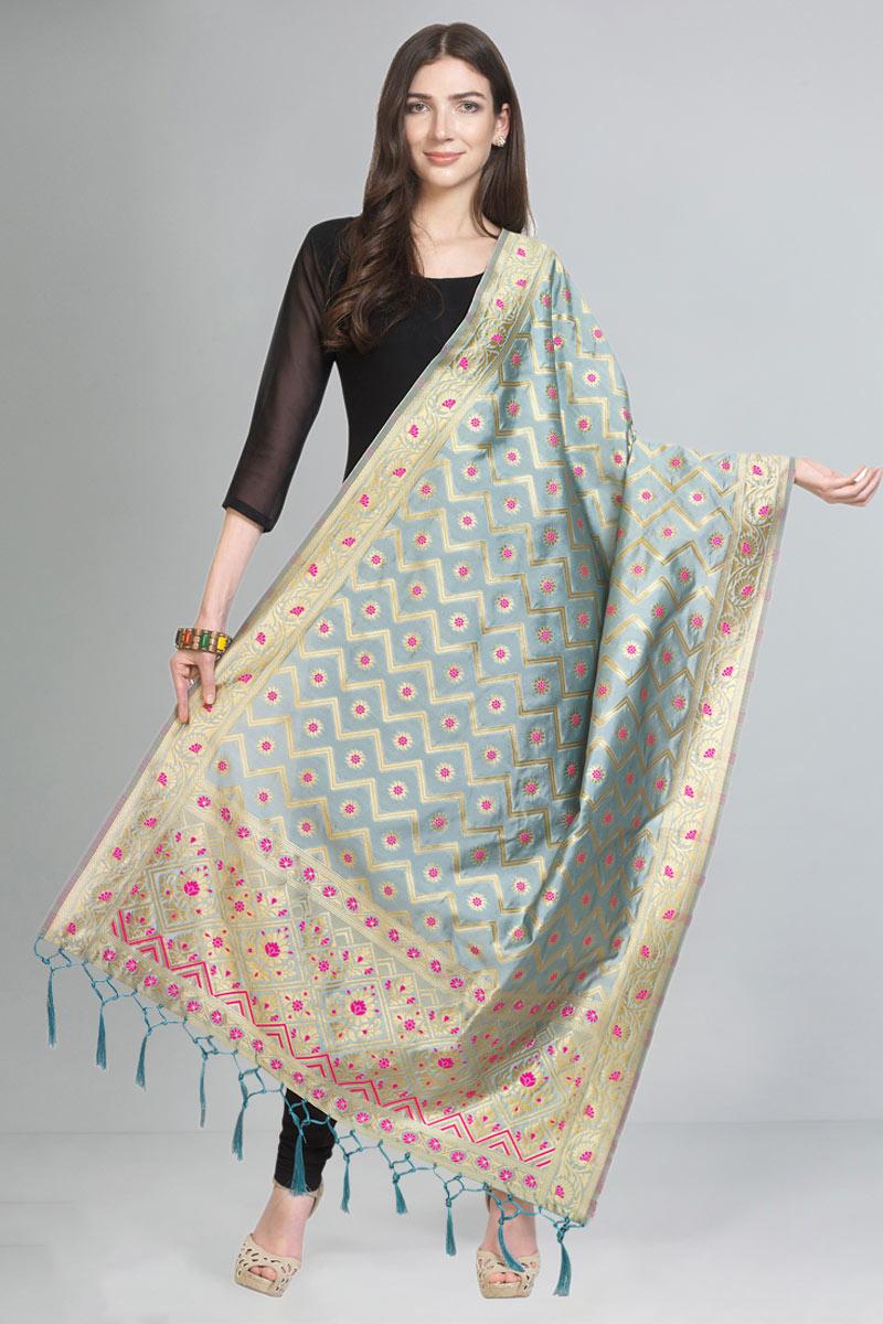 Grey Color Art Silk Fabric Fancy Weaving Work Function Wear Dupatta