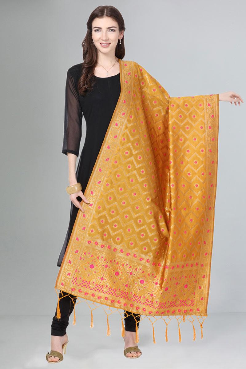Orange Color Art Silk Fabric Party Wear Dupatta