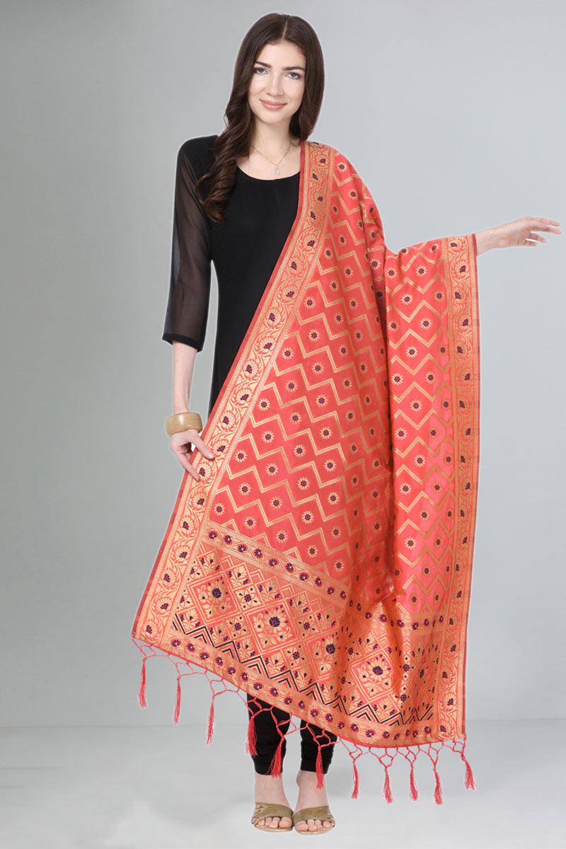 Art Silk Fabric Pink Color Function Wear Dupatta