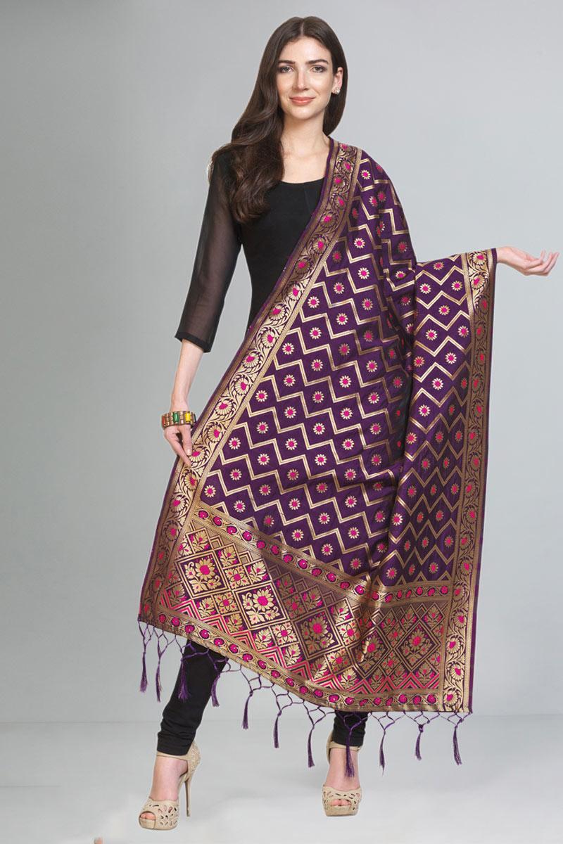 Festive Wear Purple Color Dupatta In Art Silk Fabric
