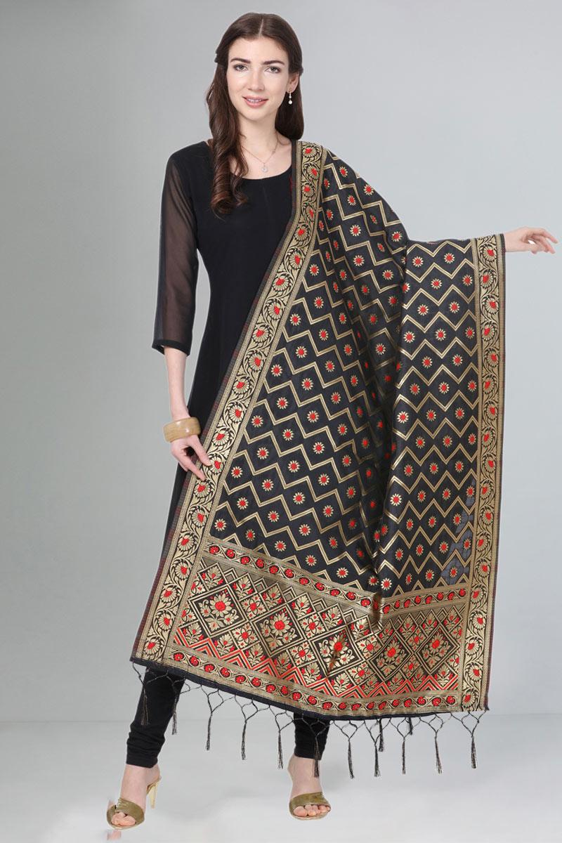 Wedding Wear Fancy Black Color Dupatta In Art Silk Fabric