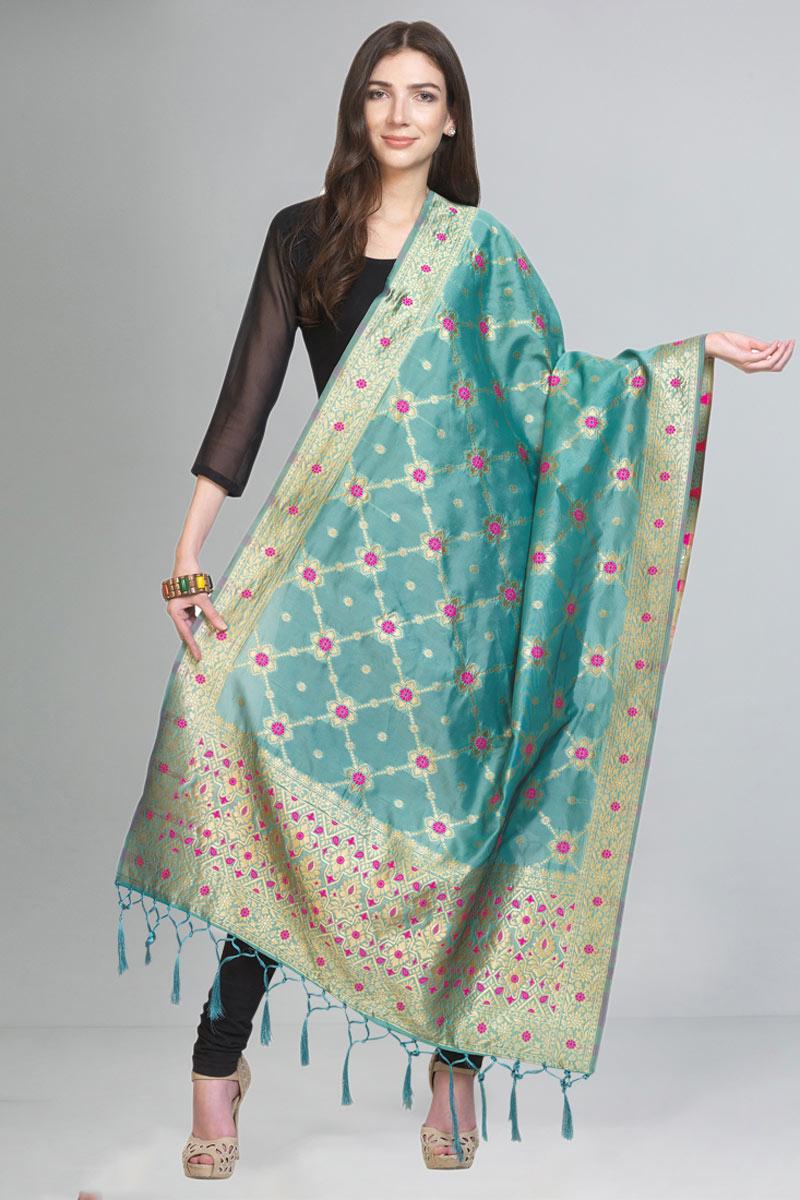 Reception Wear Fancy Art Silk Fabric Dupatta In Turquoise Color