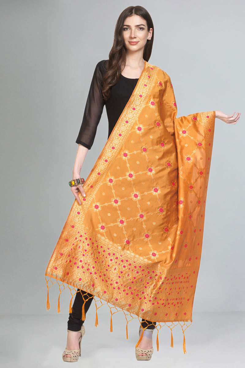 Designer Function Wear Fancy Orange Color Dupatta In Art Silk Fabric