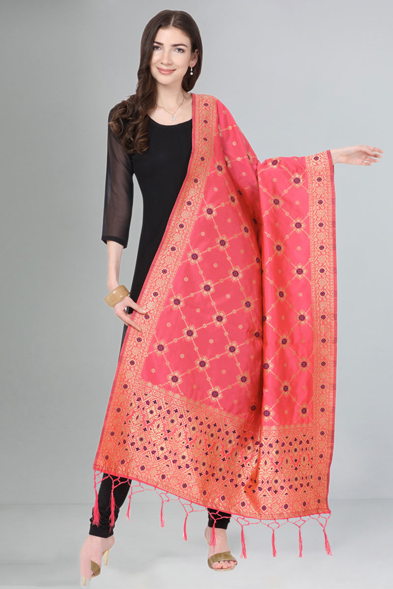 Art Silk Fabric Function Wear Pink Color Dupatta