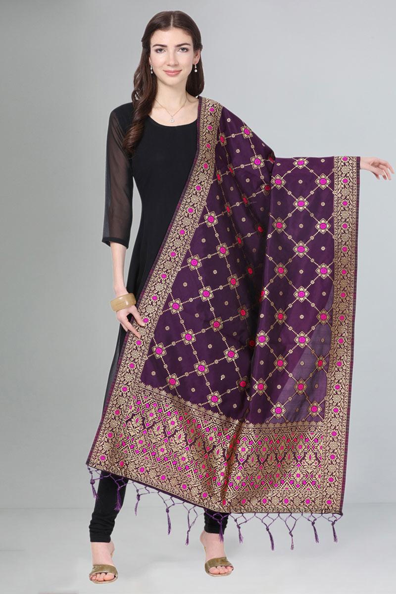Function Wear Art Silk Fabric Purple Color Dupatta