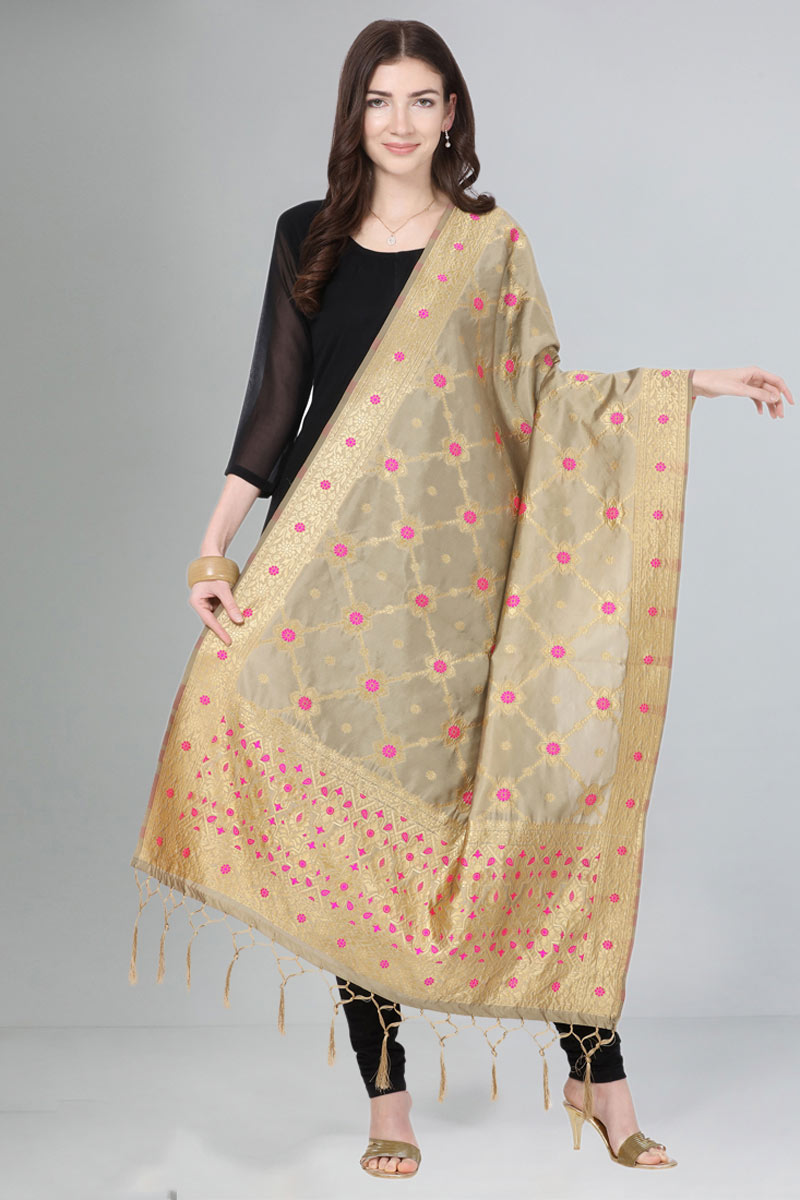 Wedding Wear Beige Color Dupatta In Art Silk Fabric