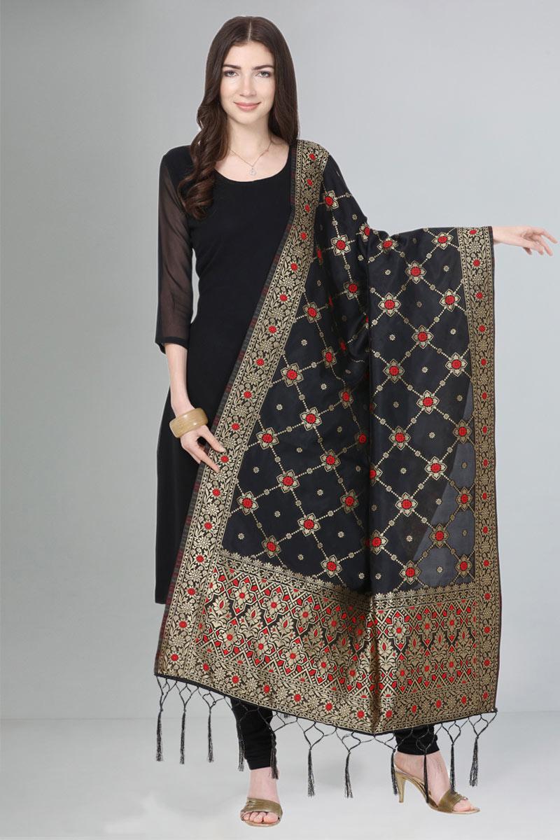 Black Color Fancy Art Silk Fabric Dupatta For Function Wear