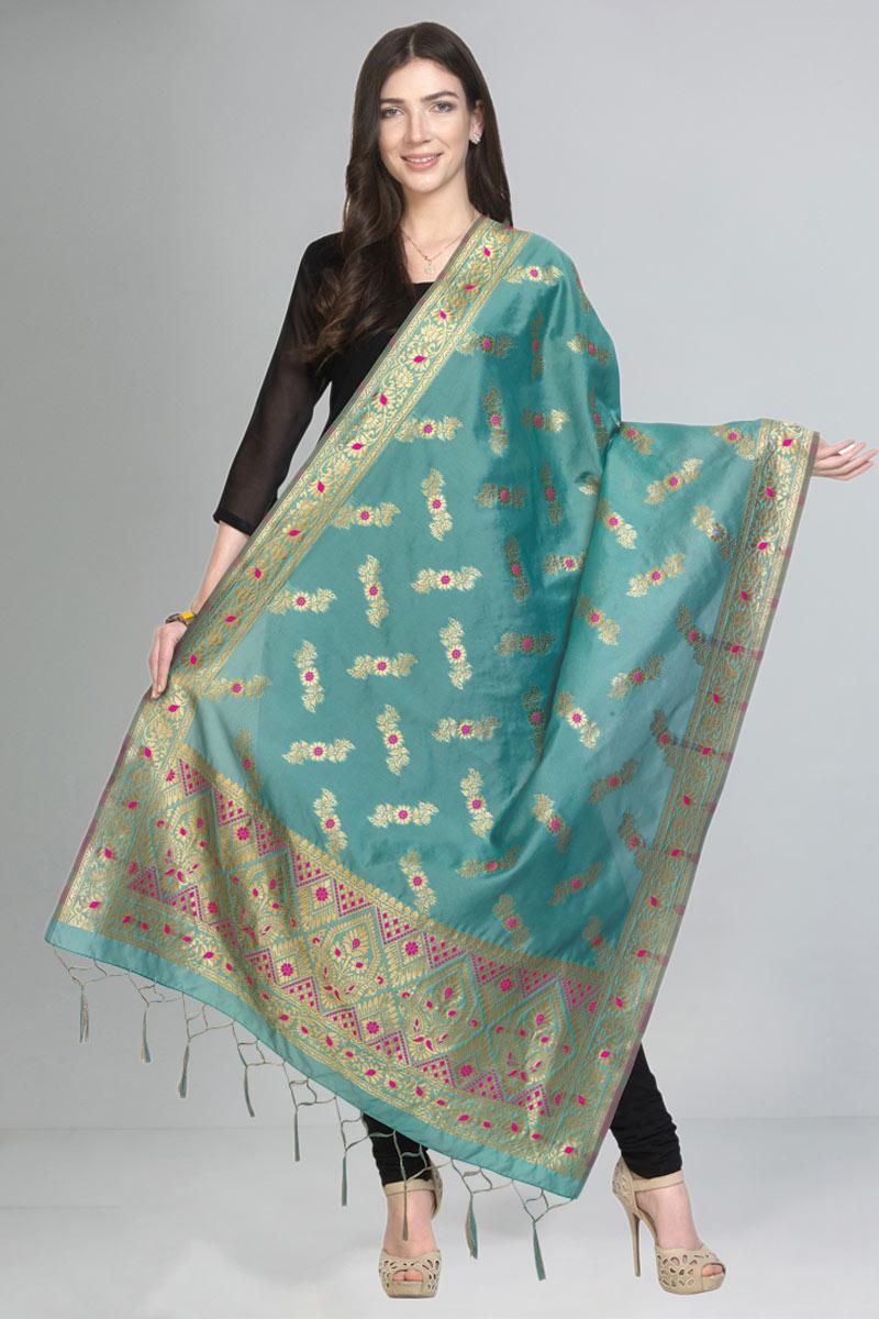 Function Wear Designer Light Turquoise Color Fancy Art Silk Fabric Dupatta