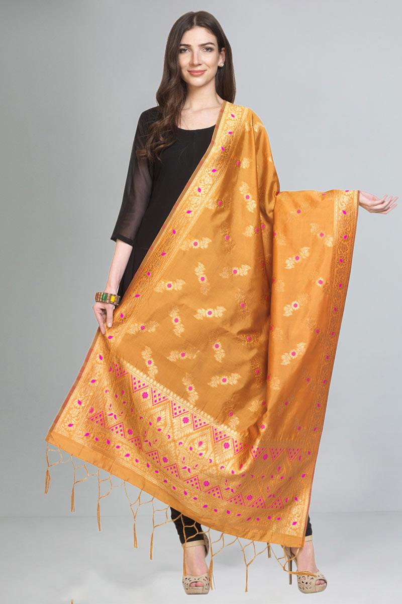 Designer Function Wear Fancy Art Silk Fabric Dupatta In Orange Color