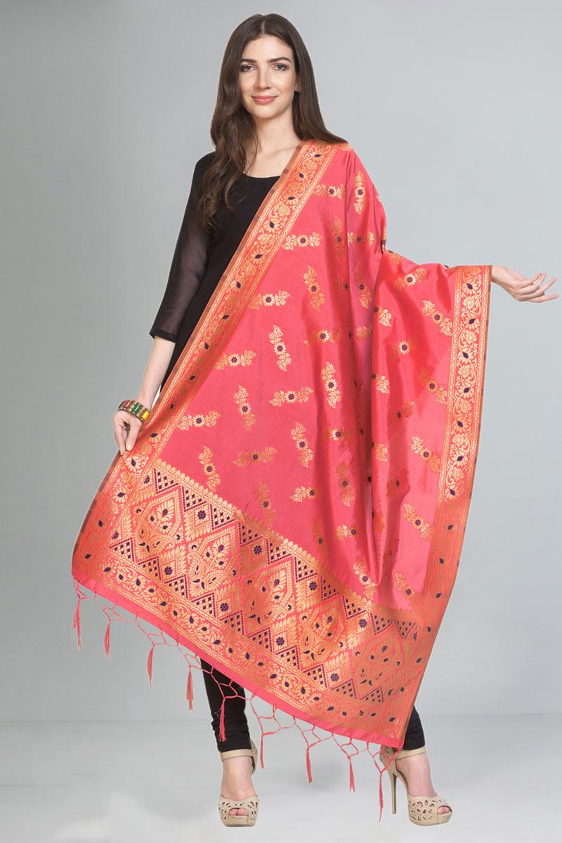 Pink Color Function Wear Art Silk Fabric Dupatta