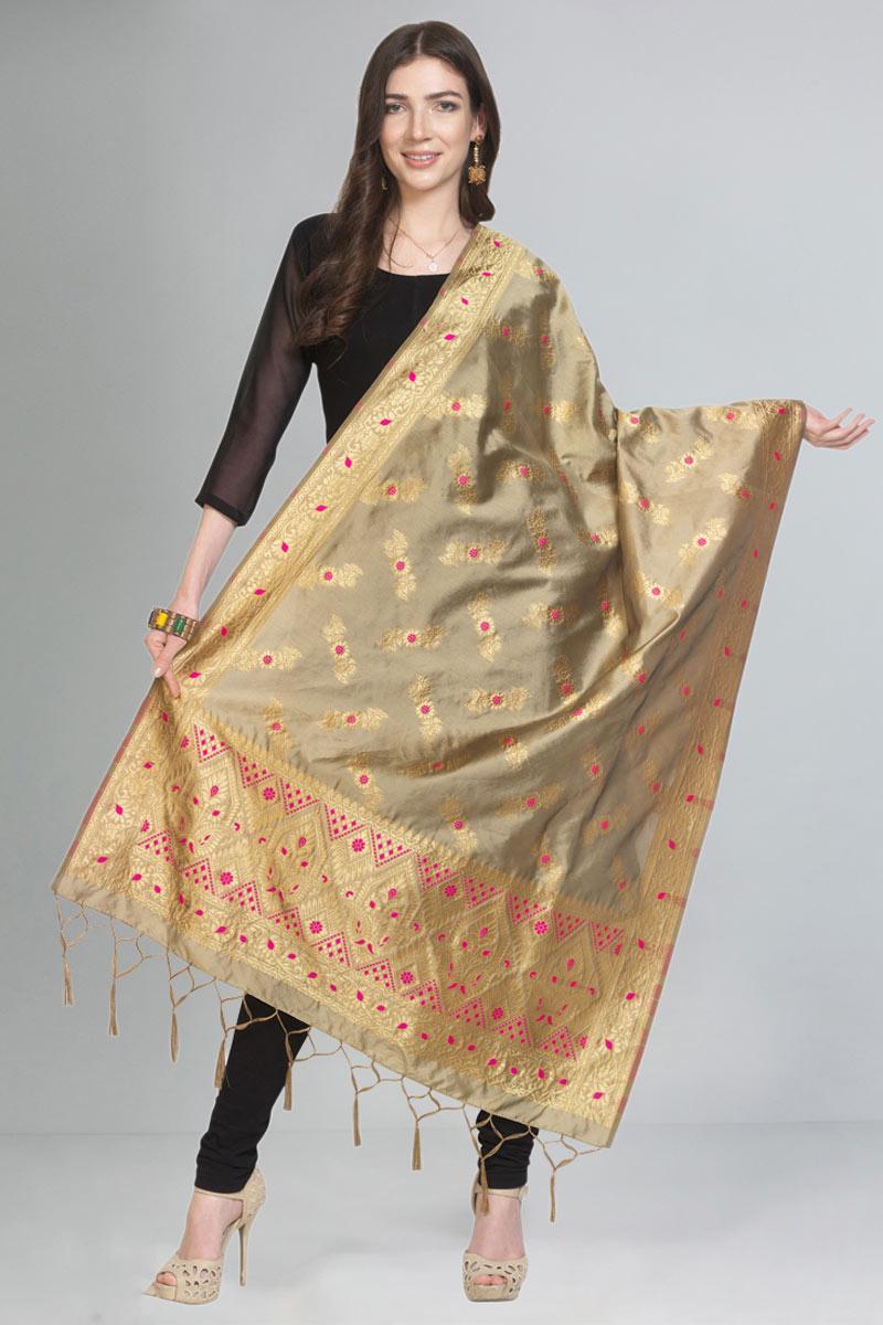 Wedding Wear Art Silk Fabric Dupatta In Beige Color